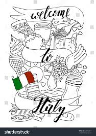 welcome italy banner doodle design coloring stock vector 522282877