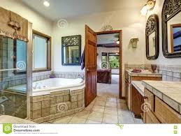 jack jill bath jack and jill bath with two washbasins and whirlpool tub stock