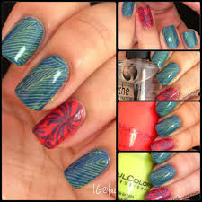 nail art blue green and coral stamped manicure lacquerexpression