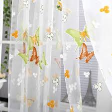 Sheer Panel Curtains Butterfly Floral Tulle Voile Window Curtain Balcony Sheer Panel