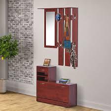 2pc entryway hall coat rack shoe storage bench organizer cabinet