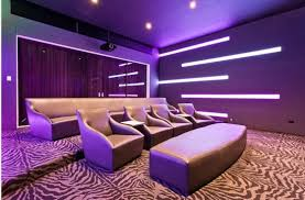modern home theater with led lighting and zebra print carpet