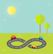 background with road infinity sign three cars tree and