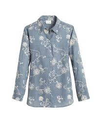 chambray blouse embroidered chambray shirt chicos