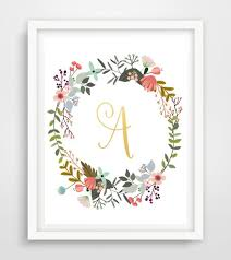 Home Decor Initials Letters Monogram Print Gold Foil Printable Art Initial Letter A Wall