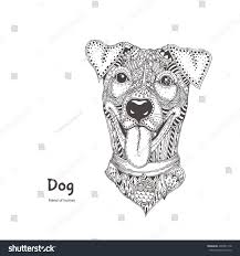 dog ethnic floral doodle pattern coloring stock vector 400581118