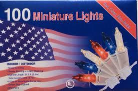 100 white blue lights minature july 4th