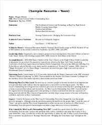 Example Of Resume For Teenager by 15 Teenage Resume Templates Free U0026 Premium Templates