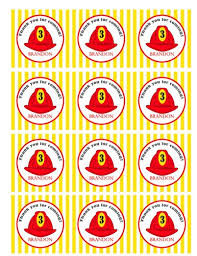 firefighter cupcake toppers printable firefighter favor tags cupcake toppers personalized