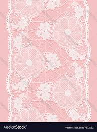 lace ribbon white seamless lace ribbon on pink background vector image