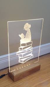 clear acrylic l base reading a book led warm white handmade etching on clear acrylic