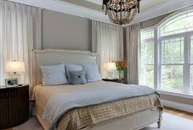 bedroom design beautiful bay window with beige patterned curtains