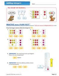 comparing integers worksheet integers middle