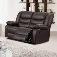 Stylish Recliner by Belfast Dark Brown Recliner Sofa Collection In Bonded Leather