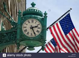 Chicago Flags Illinois Chicago Famous Marshall Fields Clock And American Flags