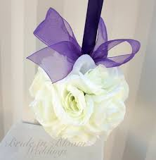 Purple Wedding Decorations Wedding Flower Balls Pomander White Purple Wedding Decorations