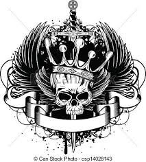 vector illustration skull with crown wings and sword eps vector