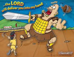 christian cartoon bible story illustrations david and goliath 1