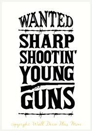 wanted sharp shootin young guns vinyl wall decal for the bathroom wanted sharp shootin young guns funny vinyl quote for the bathroom loading zoom