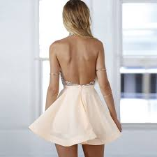 backless dress a line halter backless pearl pink chiffon homecoming dress