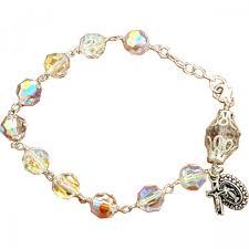 rosary bracelet sterling silver swarovski rosary bracelet leaflet missal