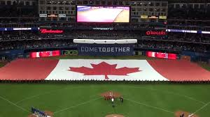History Of Canadian Flag Toronto Blue Jays Giant Canadian Flag Opening Day 2015 Youtube