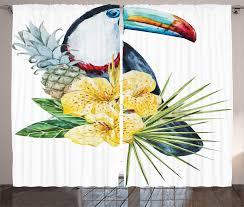 tropical curtains 2 panels set toucan bird exotic home decor ebay