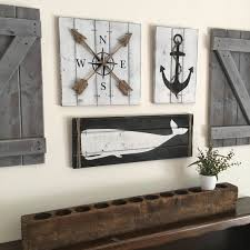 wood compass wall nautical set wooden nautical decor anchor decor whale decor