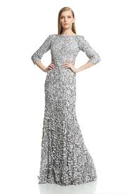 Theia Petal Embellished Satin Gown In Metallic Lyst