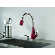 Two Tone Bathroom Faucets by Delta Fuse Two Tone Lead Free Single Handle Pull Out Kitchen Faucet