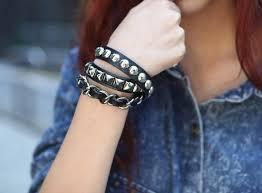 leather bracelet girl images Fashion girls black rivet leather bracelets in wrap bracelets from jpg
