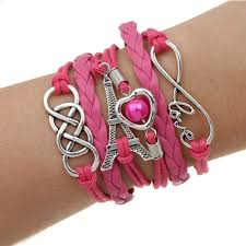 bracelet pink images Dark pink eiffel tower multilayer bracelet brandverto jpg