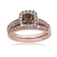 gold wedding set mocha diamond wedding set in 14 kt pink gold riddle s