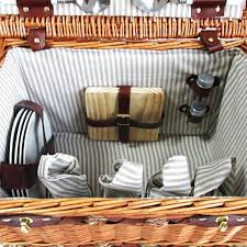 picnic basket set for 4 4 person picnic basket set w cheese board blanket simply wholesale