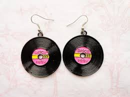 70 s earrings 70 s disco records earrings 70s theme discos and bling