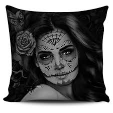 spider web sugar skull pillow cover lush