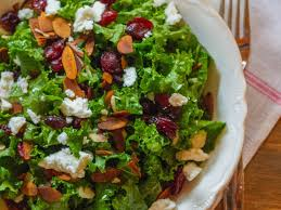 kale salad with cranberries almonds and goat cheese recipe