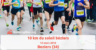 ladari leroy merlin r礬sultats 10 km du soleil b礬ziers du 13 mars 2016 running map