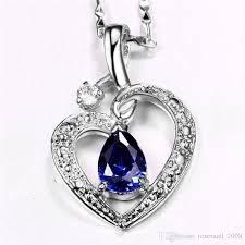 white gold crystal necklace images Wholesale women heart love blue sapphire pendant 18k white gold jpg