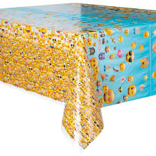 themed table cloth plastic emoji table cover 84 x 54 walmart