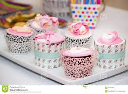 cupcakes for baby shower girl cupcakes for a baby shower party stock photo image of food