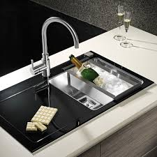 Pyramis Crystalon  Large Bowl Black Glass  Stainless Steel - Black glass kitchen sink
