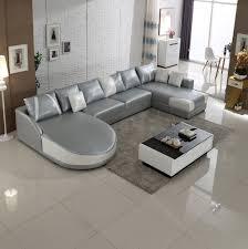 canap forme u 2015 moderne gris blanc u forme coupe canapé en cuir en stock sl0006