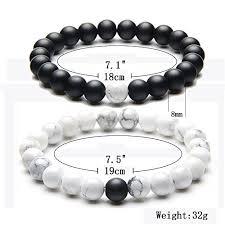 bracelet stone beads images Distance bracelet enjoit black matte agate white howlite energy jpg