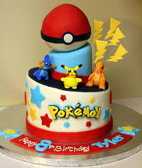 pokemon i made this fondant covered 2 tiered cake from 8