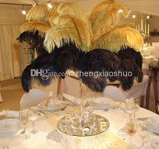 ostrich feather centerpiece wholesale 12 14inch30 35cm gold ostrich feathers for wedding