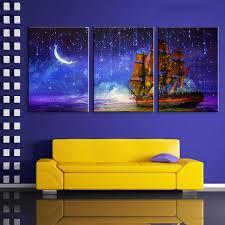 2017 illuminated wall painting boat sailing the moon led