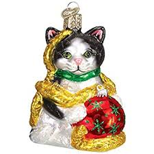 world calico cat glass blown ornament