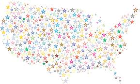 Unitrd States Map by Clipart United States Map Prismatic Stars 3
