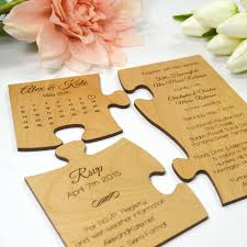 wooden wedding invitations engraved wooden puzzle wedding invitation with save the date